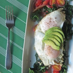 Breakfast in 10 – Kale Avocado and Basted Eggs