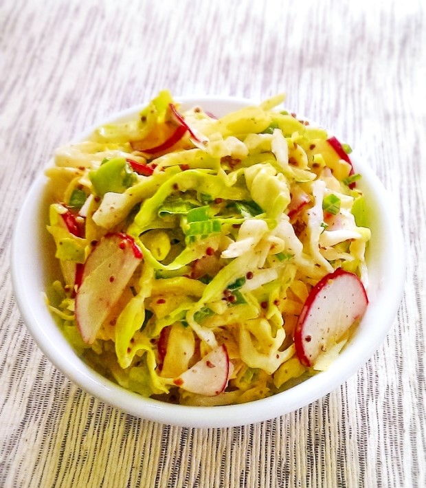 Gluten free and dairy free recipe for a healthy, kidney friendly coleslaw
