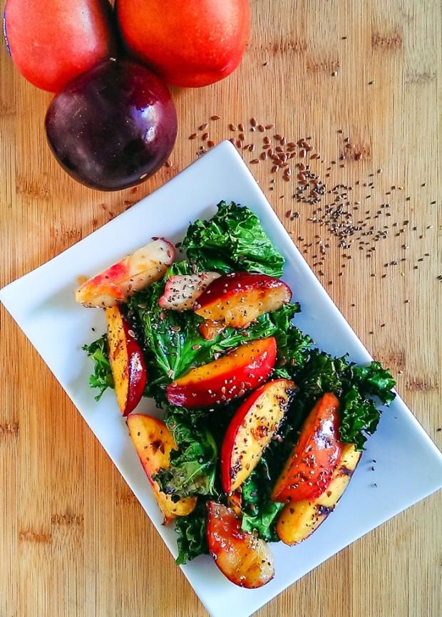 grilled-summer-fruit-and-kale-salad