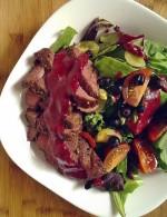 bison-sirloin-salad-saskatoon-berry-vinaigrette